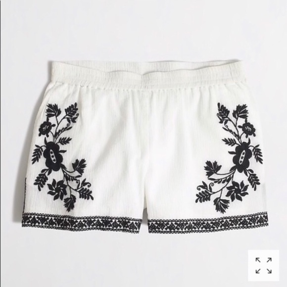 J. Crew Pants - J.Crew black and white embroidered shorts